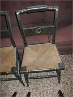 4 BLACK PAINTED RUSH SEAT CHAIRS