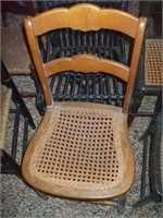 3 CAIN SEAT CHAIRS, 3 RUSH SEAT CHAIRS, PORCH