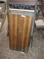 WOODEN SEWING TABLE AND CHILD'S EASEL / BLACK-