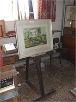 WOODEN EASEL W/ PAINTING, ELINOR EMMICK