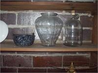 2 SHELVES OF POTTERY, BOTTLES, LAMPS, TRUNK,