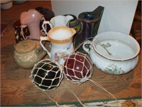 11 PC'S OF CHINA, POTTERY,  AND NET FLOATS