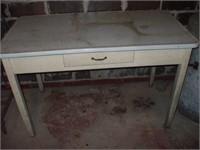 "ENAMEL TOP TABLE, W/ SINGLE DRAWER 48'X 25"""