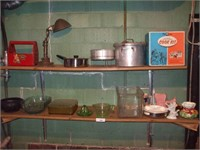 CONTENTS OF 2 SHELVES, GLASSWARE, POTTERY, LAMP,