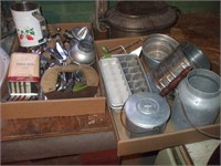 2 BOXES OF TOOLS, BABY BATH, 2 BOXES OF COOKWARE