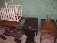 4 PC OF WOODEN FURNITURE, TABLES, CART, ORGANIZER
