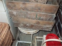 3 GLASS TOP PORCH TABLES WOODEN CARRIERS,