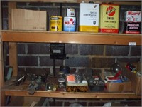 5 SHELVES OF CONTENTS IN BASEMENT (HARDWARE),