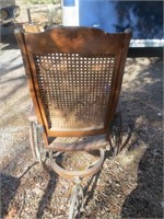 TURN OF THE CENTURY CANE SEAT WHEELCHAIR