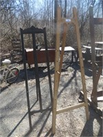 TWO WOODEN EASELS, 68 INCHES AND 5 FT.