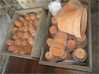 2 CRATES OF SMALL CLAY POTS