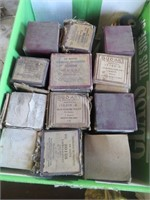 3 BOXES OF PIANO ROLLS AND STAINED GLASS