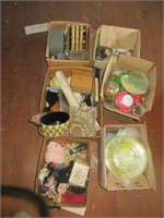 6 BOXES OF DECORATIVE GLASSWARE, DOLLS AND OTHER