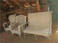 WICKER BENCH AND 2 CHAIRS
