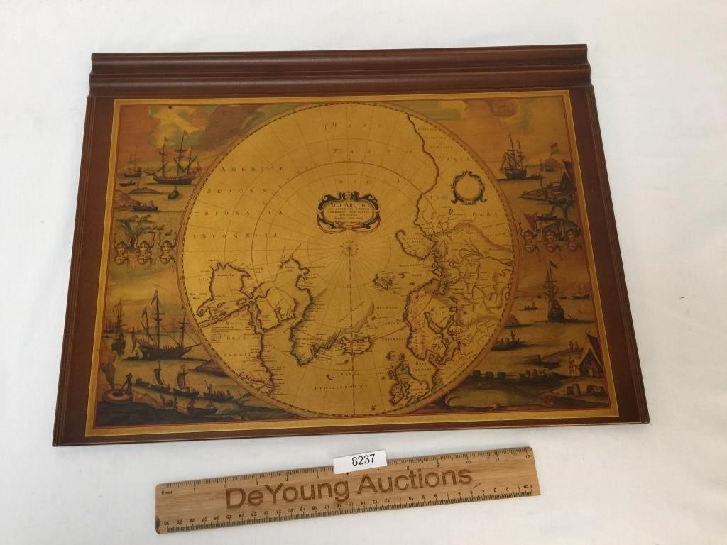 Astounding Wood Desk Blotter With Old World Map By Horchow Deyoung Download Free Architecture Designs Jebrpmadebymaigaardcom