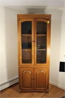 Lighted Glass Door Wooden Display Cabinet