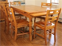 Wooden Extension Table with 5 Chairs