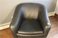 Navy Blue Faux Leather Barrel Chair