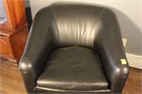 Black Faux Leather Barrel Chair
