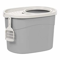 IRIS Top Entry Cat Litter Box with Scoop, Gray and
