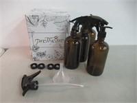 Glass Spray Bottle 16 oz (4 Pack Amber Bottles, 1