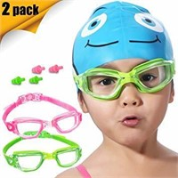 Kids Swim Goggles, 2 Pack Crystal Clear Swimming