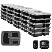 25 SZUAH Meal Prep Containers - 3 Compartments
