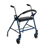 Drive Medical 1239BL Two Wheeled Walker with Seat,