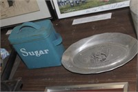 Sugar Canister & Pewter Tray