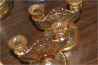 Pair of  Iris Glass Candle Holders