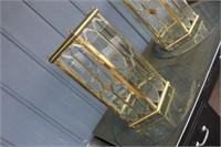 Brass Glass Top Table,24x27 tall