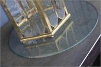 Brass Glass Top Table,24x27 tall