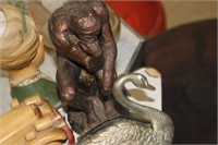 "Silver Plate Napkin Holder & Man Statue,19"""