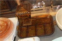 Amber Glass Candy Dish,Divided Tray