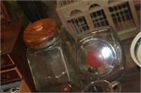 2 Glass Counter Jars
