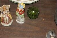 Japan Figurines & Small Green Bowl