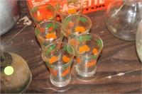 Set of 6 Orange Glasses