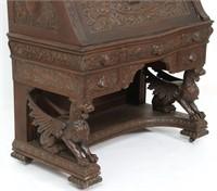 R.J. Horner Winged Griffin Oak Drop Front Desk