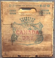 VINTAGE 1961 CANADA DRY GINGER ALE WOODEN CRATE