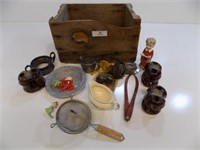 ANTIQUE WOODEN BOX FULL OF MISC VINTAGE ITEMS