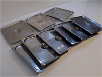 LOT OF 9 HALF PAN LIDS-SOME DENTS AND DINGS