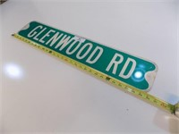 GLENWOOD ROAD RETIRED STREET SIGN