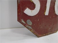 OLD ANTIQUE HEAVY METAL STOP SIGN