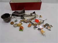 TIN W/ VINTAGE COLLECTBLE PINS BABY CUP &