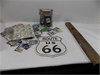 BOX MISC-FOOTBALL CARDS, OLD LEVEL, ROUTE 66 SIGN*