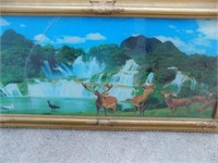 VINTAGE LIGHT UP OUTDOOR SCENE PICTURE-CRACKED