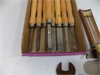 WOOD LATHE TOOLS, OLD WRENCES, OLD PULLEY