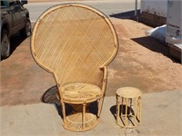 "LARGE VINTAGE WICKER CHAIR AND TABLE, 59"" TALL"