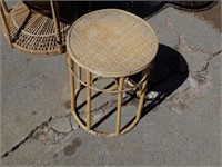 """LARGE VINTAGE WICKER CHAIR AND TABLE, 59"""" TALL"""