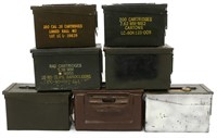 AMMUNITION CANS AND DISPLAY CASE LOT OF SEVEN